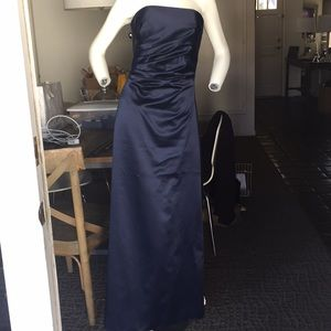 ABS Collection Navy Satin evening gown prom